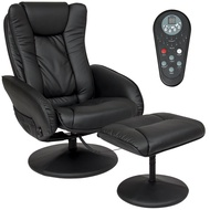Best Choice Products Faux Leather Electric Massage Recliner Couch Chair with Stool Footrest Ottoman, Remote Control, 5 Heat & Massage Modes, Side Pockets, Black