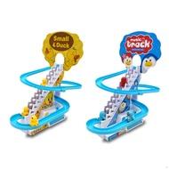 兒童小鴨小企鵝動物爬樓梯玩具 軌道車 男孩女孩電動火車過山車玩具套裝【IU貝嬰屋】