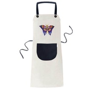 Traditional Chinese Kite Butterfly Pattern Cooking Kitchen Beige Adjustable Bib Apron Pocket Women Men Chef Gift - intl