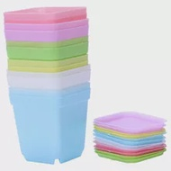 Big deal Colorful Plastic Plant Pots with Saucers, Set of 12
