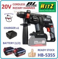 [100 % ORIGINAL] HITZ 20V HB-5355 CORDLESS ROTARY HAMMER BATTERY BATERI WIRELESS HEAVY DUTY BL MOTOR HAMMERS DRILL DRILLING DRIVERS Hitz 20V brushless motor HB-5355 cordless rotary hammer