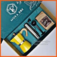 """SALE"""" ชุดทำกาแฟสด Moka box กล่องสีเขียว+หม้อ Moka pot 6cup+ที่บดสแตนเลส+ช้อน+กาแฟ 250กรัม เครื่องใช้ไฟฟ้าภายในบ้าน"""
