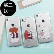 We bare bear Apple 7 x phone case iPhone6Splus case 5SE soft shell transparent 8 cute cartoon cute