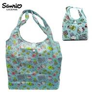 粉綠款【日本正版】凱蒂貓 摺疊 購物袋 環保袋 手提袋 防潑水 Hello Kitty 三麗鷗 Sanrio - 466909