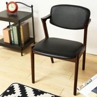 【H&D】Elvis 艾維斯北歐風雅緻單椅/餐椅/書椅(皮 黑 椅 H&D)