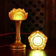 佛燈蓮花燈佛前供燈長明燈蓮花燈led七彩琉璃供燈    SQ13486TW