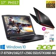 【贈office 365】Acer PH317-52-71SV 17.3吋筆電-黑(i7-8750H/16G/1TB+256G SSD/GTX1060-6G/W10)