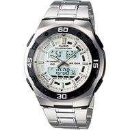 Casio สองระบบเข็มดิจิตอล นาฬิกาข้อมือผู้ชาย สายสแตนเลส รุ่น AQ-164WD ของแท้ประกันศูนย์
