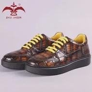 ดีรองเท้าผู้ชาย100% Cro จระเข้รองเท้าหนังผู้ชาย Boy Lady Girl รองเท้าผ้าใบ Patina สีส้มโลโก้ที่กำหนดเองชื่อ