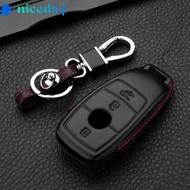 Keyless Key Holder For Mercedes Benz W213 Leather Black Shell E200 E260 E300 E400 Car Holder Accessories Housing