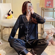 Autumn and Winter Sleepwear Long Sleeve Pajamas For Women Satin Silk Pants Set Sexy Pajamas Women's