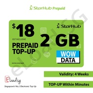 STARHUB Prepaid $18 DATA Plans eTop-Up - 24 Hours Instant Delivery!