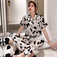 Korean Silk Sleepwear Pajama Set For Women Nightwear