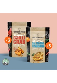 The Golden Duck [BUNDLE OF 6] 3 x Salted Egg Fish Skin & 3 x Chilli Crab Seaweed Tempura