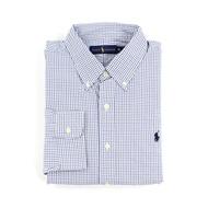美國百分百【Ralph Lauren】長袖 襯衫 RL 男 POLO 小馬 格紋 上衣 白色 藍色 XL號 F715