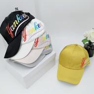 韓國正品 MLB專賣店帽子 2019新款洋基帽 MLB@Yankees洋基隊側標彩色字母 老帽素色帽小logo刺繡