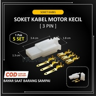 Small 3 Pin Motorcycle Cable Socket - 5 SET + Cable Skun / 3 Pin Socket / Motorcycle Cable Socket