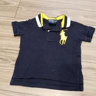 二手9M專櫃貨 高檔童裝Ralph Lauren Polo 男寶深藍 金色大馬polo衫