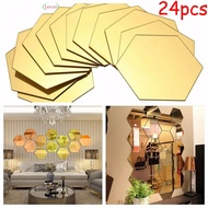 Mirror Stickers Mosaic Tiles Bathroom Hexagon Mirror Self-adhesive Decorate