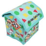 小禮堂 蠟筆小新 屋型皮質折疊掀蓋收納箱 迷你收納箱 小物收納箱 (綠)