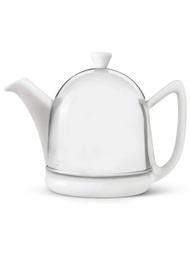 荷蘭百年茶具品牌 Bredemeijer Manto 金屬保溫罩茶壺 0.6L(白x銀)
