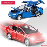 【模型車仿真玩具車】鷗翼門1/32特斯拉電動車 合金車模六開門聲光回力兒童模型玩具車