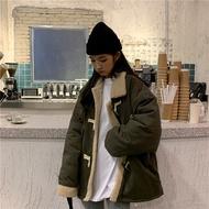 2色可選基本款外套 開衫鋪棉外套 牛角釦棉襖外套 羔羊毛刷毛棉服羔羊服絨棉衣短版襖子