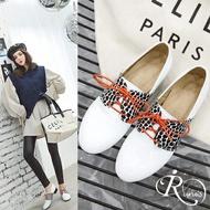 韓系時尚雜誌款漆皮豹紋綁帶方跟休閒鞋/2色/35-44碼 (RX0450-X99-5)