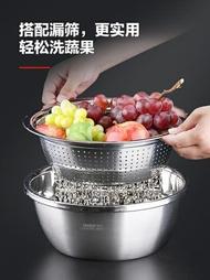 瀝水盆 食品級304不銹鋼盆子套裝加厚家用廚房打蛋和面洗菜瀝水籃漏湯盆