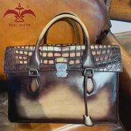 ที่ประสบความสำเร็จMensกระเป๋า! 100% ของแท้Cro Cowกระเป๋าถือหนังLady Lady Tote Bagกระเป๋าเอกสารในPatina Apricot Beigeสี