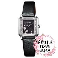 【日本原裝正品】CITIZEN 星辰 Eco-Drive 光動能 鑲鑽方形錶 黑色時尚女錶 EG7061-15E