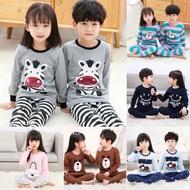 🌼SmartBorong🌼 1-15Y Pyjamas Kids Sleepwear Cotton Baju Tidur Budak Suit Cartoon Pyjamas Boy Pajamas