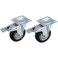 2Pcs Furniture Casters Wheels Rubber Swivel Caster Roller Wheel for Platform Trolley Chair Household Accessori