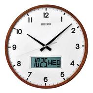 【SEIKO 精工】指針電子雙顯掛鐘-33cm(QXL008B)
