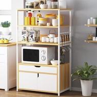 【HappyLife】四層開放式廚房置物架 雙門單抽 YV9870(電器櫃 家電收納架 家電櫃 微波爐架 烤箱架)