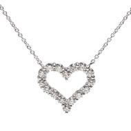 【Tiffany&Co. 蒂芙尼】經典HEARTS系列切割真鑽鑲嵌心型吊墜鉑金項鍊(小-銀12976542)