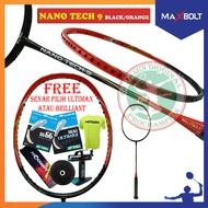 MAXBOLT NANO TECH 9 BLACK ORANGE RAKET BADMINTON ORIGINAL
