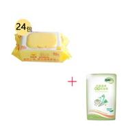 黃色小鴨造型盒蓋超厚抗菌柔濕巾(80抽)/1箱+Nac Nac奶瓶清潔劑補充包600ml