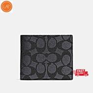 COACHกระเป๋าสตางค์ 3-In-1 Wallet ผ้า Canvas เคลือบลายซิกเนเจอร์ สีเทา พร้อมส่ง