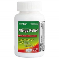 ▶$1 Shop Coupon◀  Health A2Z Allergy Releif, Cetrizine HCL 10mg, 250 Count Compare to Zyrtec® Active