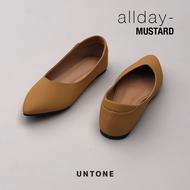 รองเท้าคัชชูผู้หญิง ไซส์ใหญ่ 35-42 รองเท้าไม่กัด ผ้านูบัค ไร้ส้น สี MUSTARD แบรนด์ UNTONE (NEW!!)