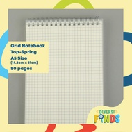 MUJI Style Spiral Notebook / Steno with - Size A5 and B5 - LINEPLAIN DOT and GRID