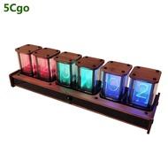 5Cgo DIY模擬輝光管時鐘創意LED數顯電子鬧鐘紅外感應語音報時桌面擺件USB朋友禮物閨蜜 含稅可開發票