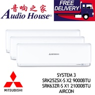 MITSUBISHI HEAVY INDUSTRIES SYSTEM 3 SRK25ZSX-S X2 9000BTU+ SRK63ZR-S X1 21000BTU AIRCON