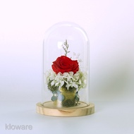 Clear Glass Dome, Cloche Jewelry Holder, Rose Display Case, Cloche Bell Jar Terrarium with Wooden Base