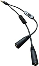 2-In-1 3.5Mm Audio Cable With Volume Control Male To Female Audio Splitter Black