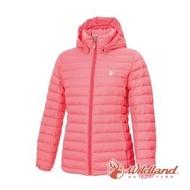 【Wildland 荒野】女 收納枕拆帽極暖鵝絨外套-蜜粉紅 0A72103-22(羽絨外套/羽絨衣/外套/保暖外套)