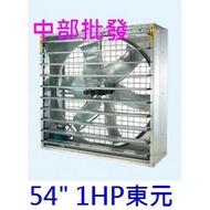 免運中部批發』附百葉窗 54吋 1HP 三相 通風機 箱型抽風機 排風機 廠房散熱風扇 工廠通風 畜牧風扇 抽送通風機