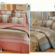 純棉床包春節優惠-現代粉嫩條紋-100%純棉精梳棉 單人床包/雙人床包/加大/特大夏罩/床罩/厚包( 任何尺寸皆可訂做