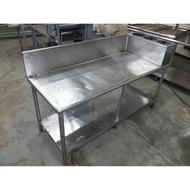 【吉林二手貨G1500004】5尺甜點工作臺 白鐵工作桌/白鐵不鏽鋼工作台/流理台/不銹鋼工作台